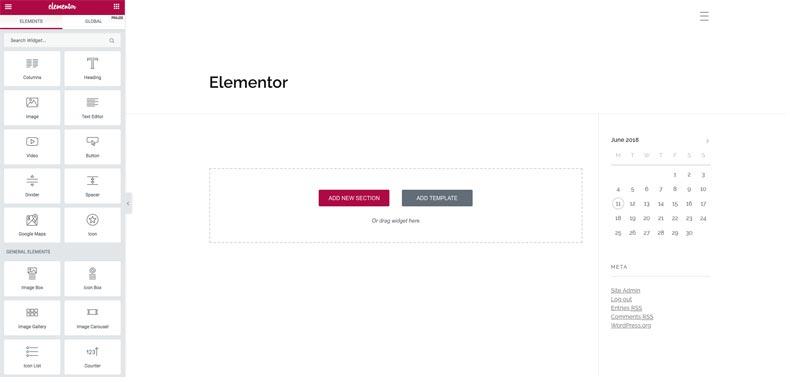 Elementor page builder screenshot