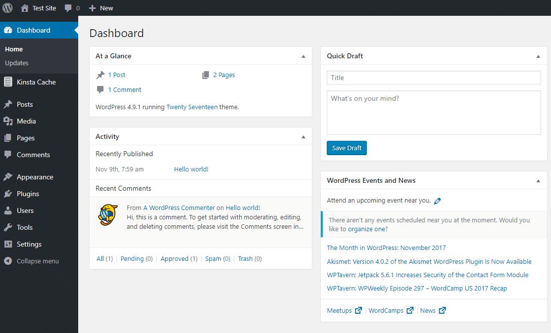 WordPress backend interface